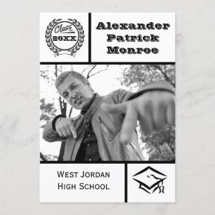 Traditional Black & White - Graduation Invitation