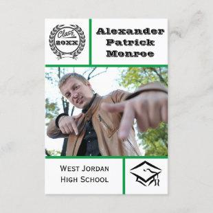 Traditional Green - 3x5 Graduation Invitation