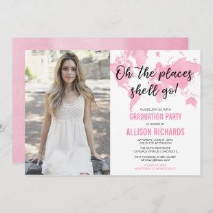 Travel theme oh the places she'll go graduation invitation