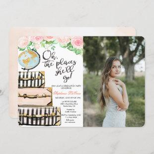 Travel Themed Graduation Party Photo Invitation