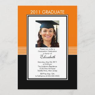 Trendy Black & Orange Photo Graduation Invitation