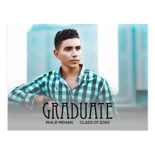 Trendy Block Print Photo Graduation Save the Date Postcard