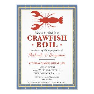 Trendy Blue Crawfish Boil Lobster Party Engagement Invitation