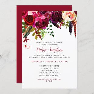 Trendy Boho Burgundy floral graduation party Invitation