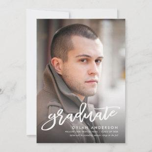 Trendy Brush Script Photo Graduation Announcement