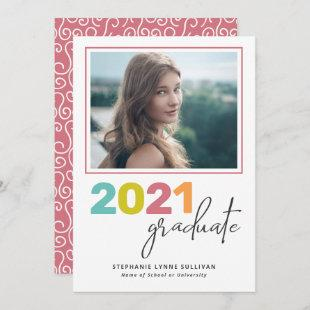Trendy Colorful Lettering Modern Grad Party Invitation