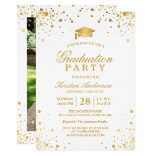 Trendy Gold Confetti Dots Graduation Party Photo Invitation