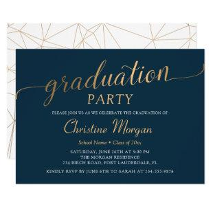 Trendy Gold Script Navy Blue Graduation Party Invitation