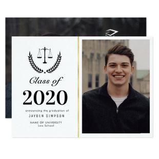 Trendy law school graduation photo announcement