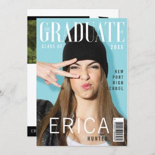 Trendy Magazine Cover Inspired Grad Invitation