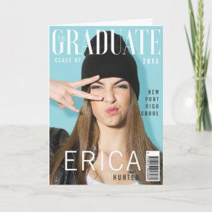 Trendy Magazine Cover Inspired Graduation Card