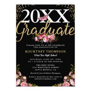 Trendy Pink Floral Gold Glitter Graduation Party Invitation
