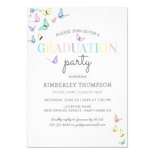 Trendy Rainbow Pastel Butterfly Graduation Party Invitation