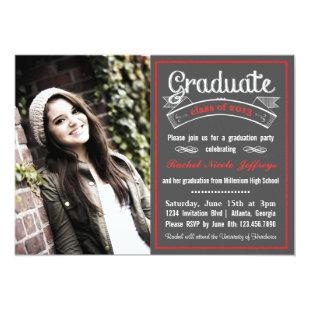 Trendy Red Chalkboard Typography Graduation Invitation