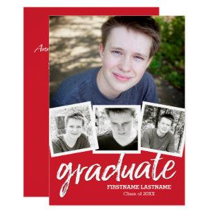 Trendy Red Graduation Announcement Party 4 Photo