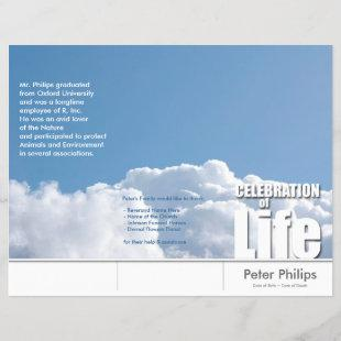 Tri-Fold Cloud Memorial Service Program Flyers