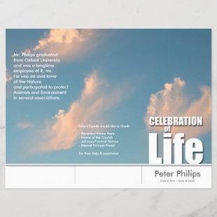 Tri-Fold Face Cloud Memorial Service Program Flyer