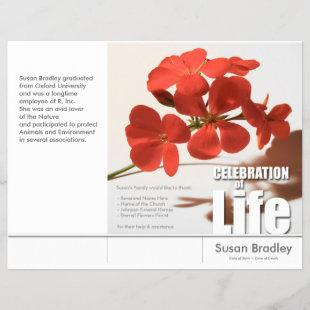 Tri-Fold Geranium Memorial Service Program Flyers