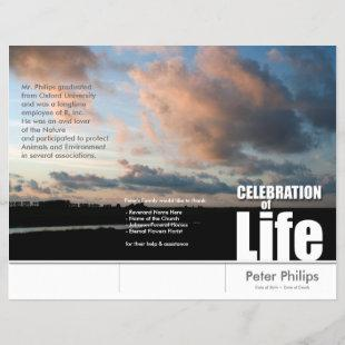 Tri-Fold Sunset Memorial Service Program Flyers