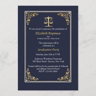 Trimmed in Gold Justice Scale Graduation Invites