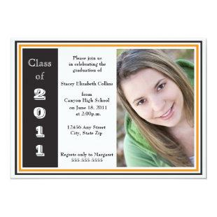Triple Frame Graduation (black and orange) Invitation