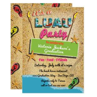 Tropical Beach Luau Party Invitations