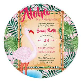 Tropical Flamingo Party Invites - ALOHA