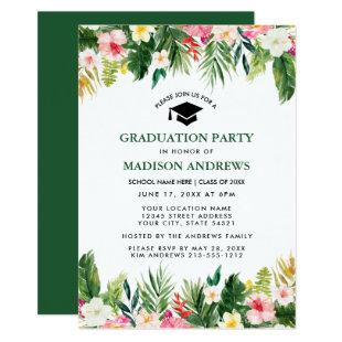 Tropical Floral Green Graduation Party Invitation
