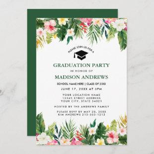 Tropical Floral Green Graduation Party