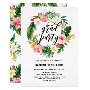 Tropical Floral Wreath Graduation Luau Party Invitation