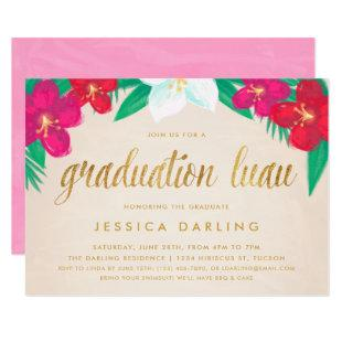 Tropical Flowers Gold Graduation Luau Invitation