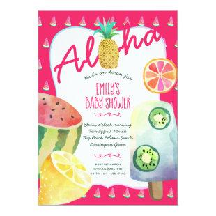 Tropical Fruit Baby Shower Luau Party Invites