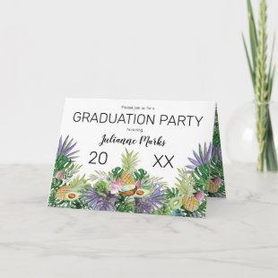 Tropical Fruit | Greenery Summer Graduation Party Invitation