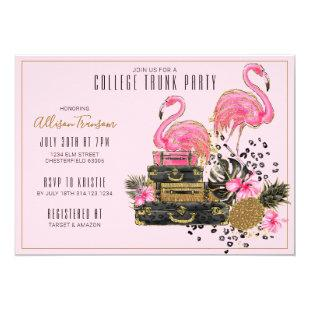 Tropical Glitter Pink Flamingo College Trunk Party Invitation