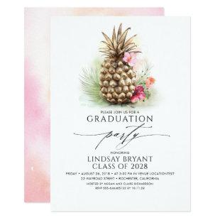 Tropical Gold Pineapple Beach Floral Graduation Invitation