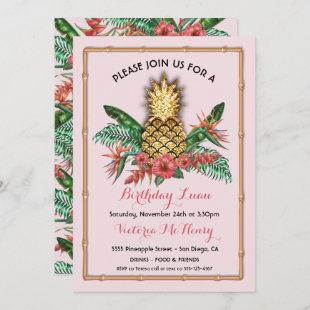 Tropical Golden Pineapple Luau Party Invitation