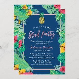 Tropical Graduation Party Navy Blue Gold Pineapple Invitation