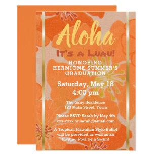 Tropical Hawaiian Luau Graduation Party Invite