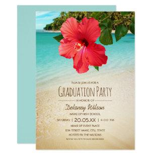 Tropical Hibiscus Hawaiian Beach Graduation Party Invitation