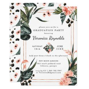 Tropical Jungle Greenery | Pink Floral Graduation Invitation