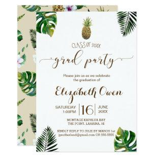 Tropical Leaves Pineapple Luau Graduation Invitation