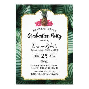 Tropical Leaves & Pineapple Luau Graduation Invitation