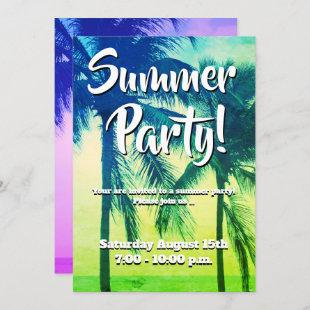 Tropical palm tree neon color summer party invitation