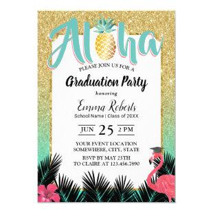 Tropical Pineapple Aloha Gold Glitter Graduation Invitation