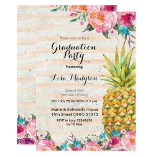 Tropical Pineapple Graduation Party card