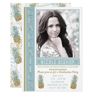 Tropical Pineapple Graduation Party Graduate Photo Invitation