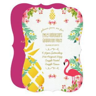 Tropical Pineapple GRADUATION Pink Flamingo Invitation