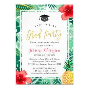 Tropical Pineapple Luau Graduation Party Invitation