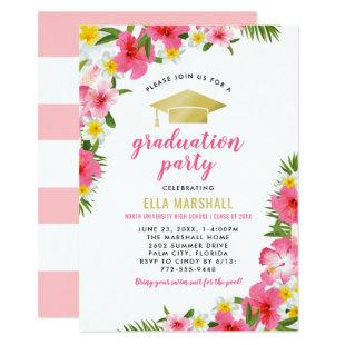 Tropical Pink Gold Hibiscus Flowers Graduation Invitation
