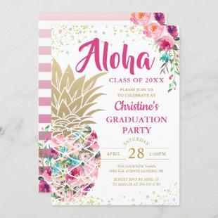 Tropical Pink Gold Pineapple Floral Graduation Invitation